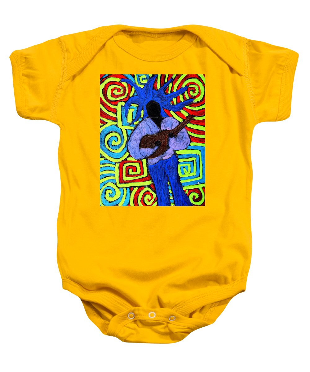 Music Baby Onesie featuring the painting Guitar Solo by Wayne Potrafka