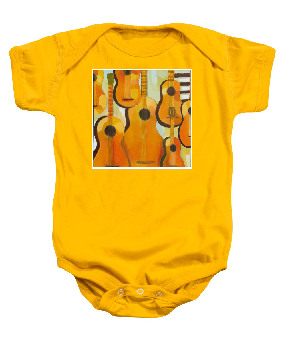 Abstract Baby Onesie featuring the painting Guitars by Habib Ayat
