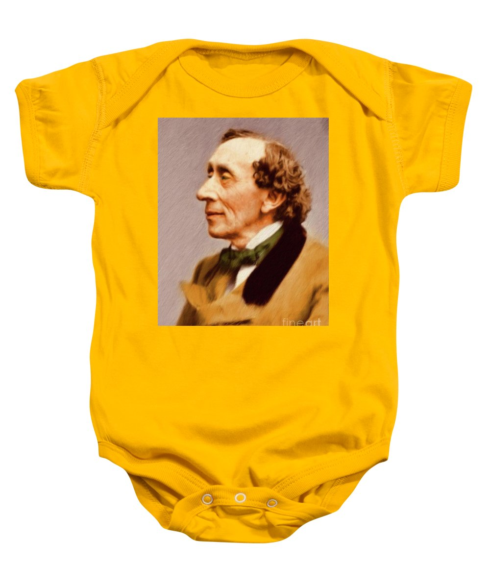 Hans Baby Onesie featuring the painting Hans Christian Andersen, Literary Legend by Mary Bassett