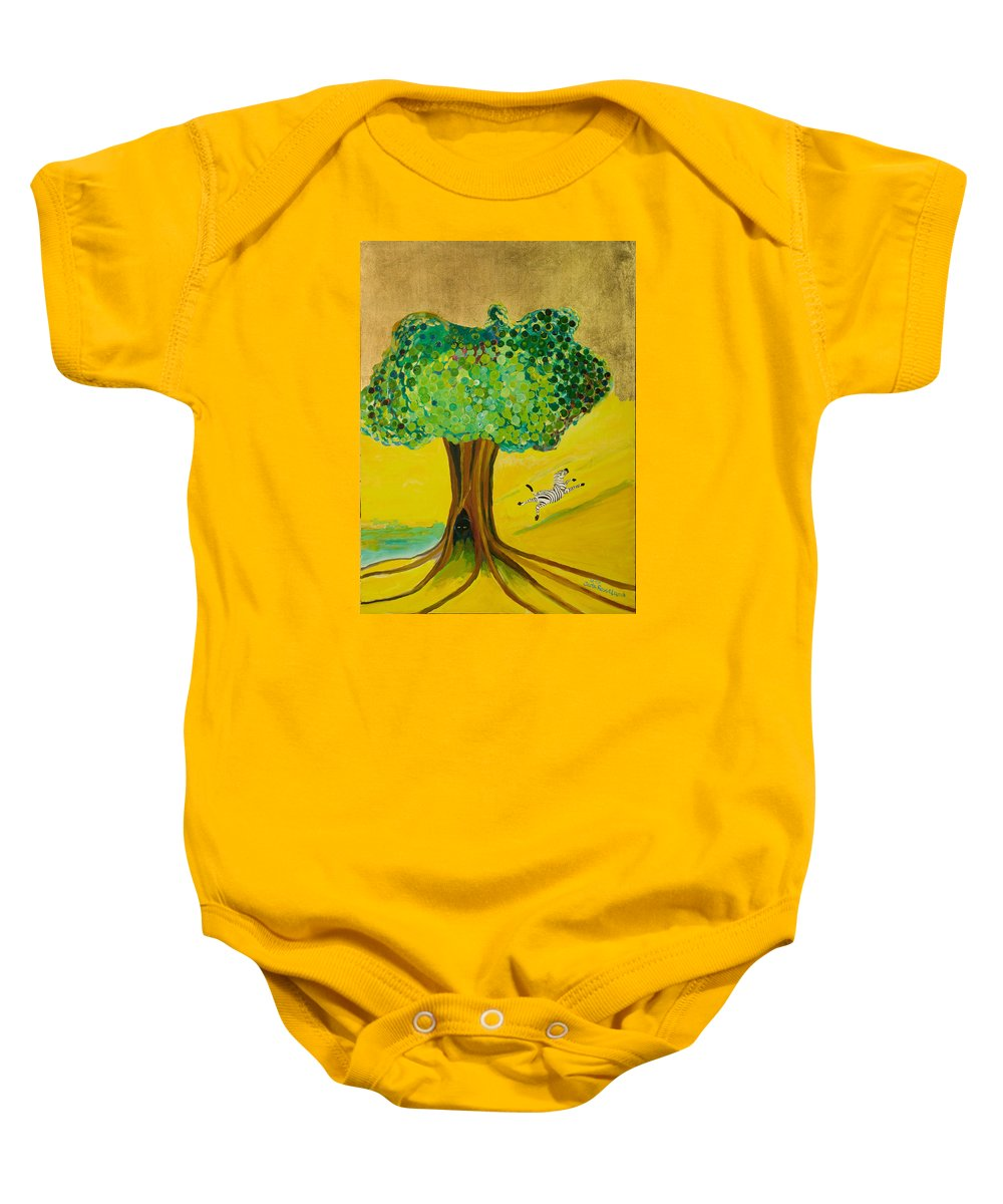 Landscape Baby Onesie featuring the painting Happiness by Jarle Rosseland