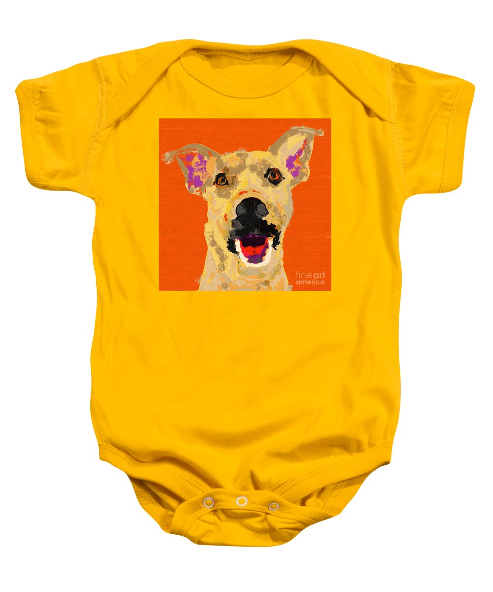 Dog Baby Onesie featuring the painting Happy Dog by D Tao