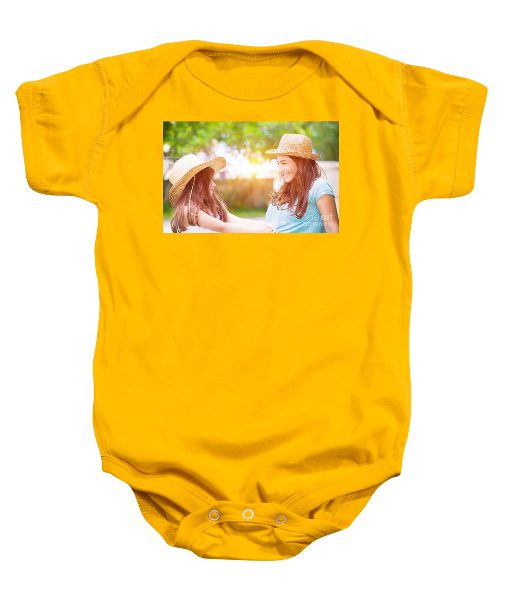 Baby Baby Onesie featuring the photograph Happy Family Life by Anna Om