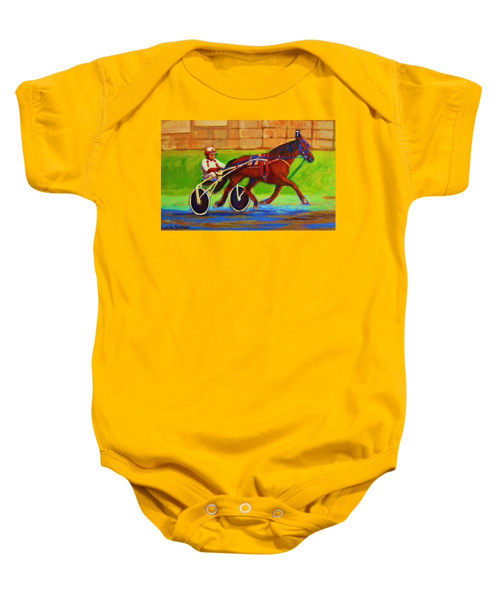 Harness Racing Baby Onesie featuring the painting Harness Racing At Bluebonnets by Carole Spandau