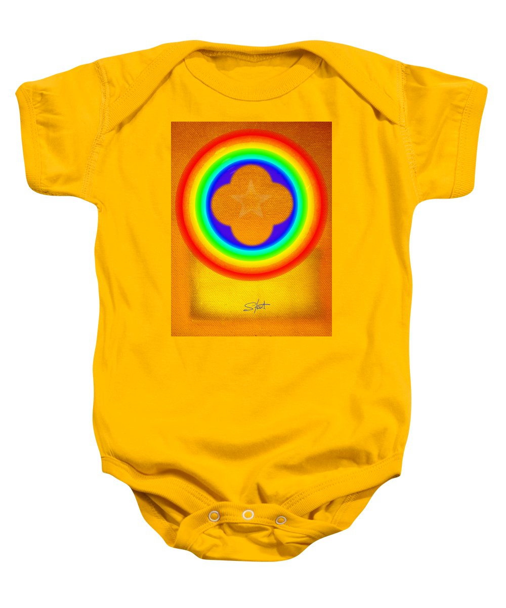 Abstract Baby Onesie featuring the painting Harvest Gold by Charles Stuart