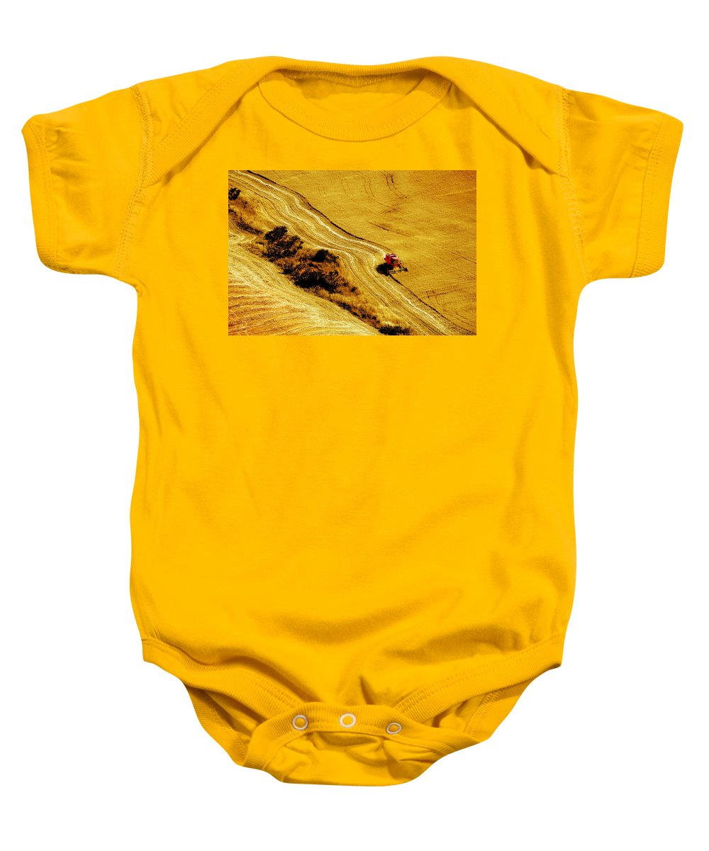 Combine Baby Onesie featuring the photograph Harvesting The Crop by Mal Bray