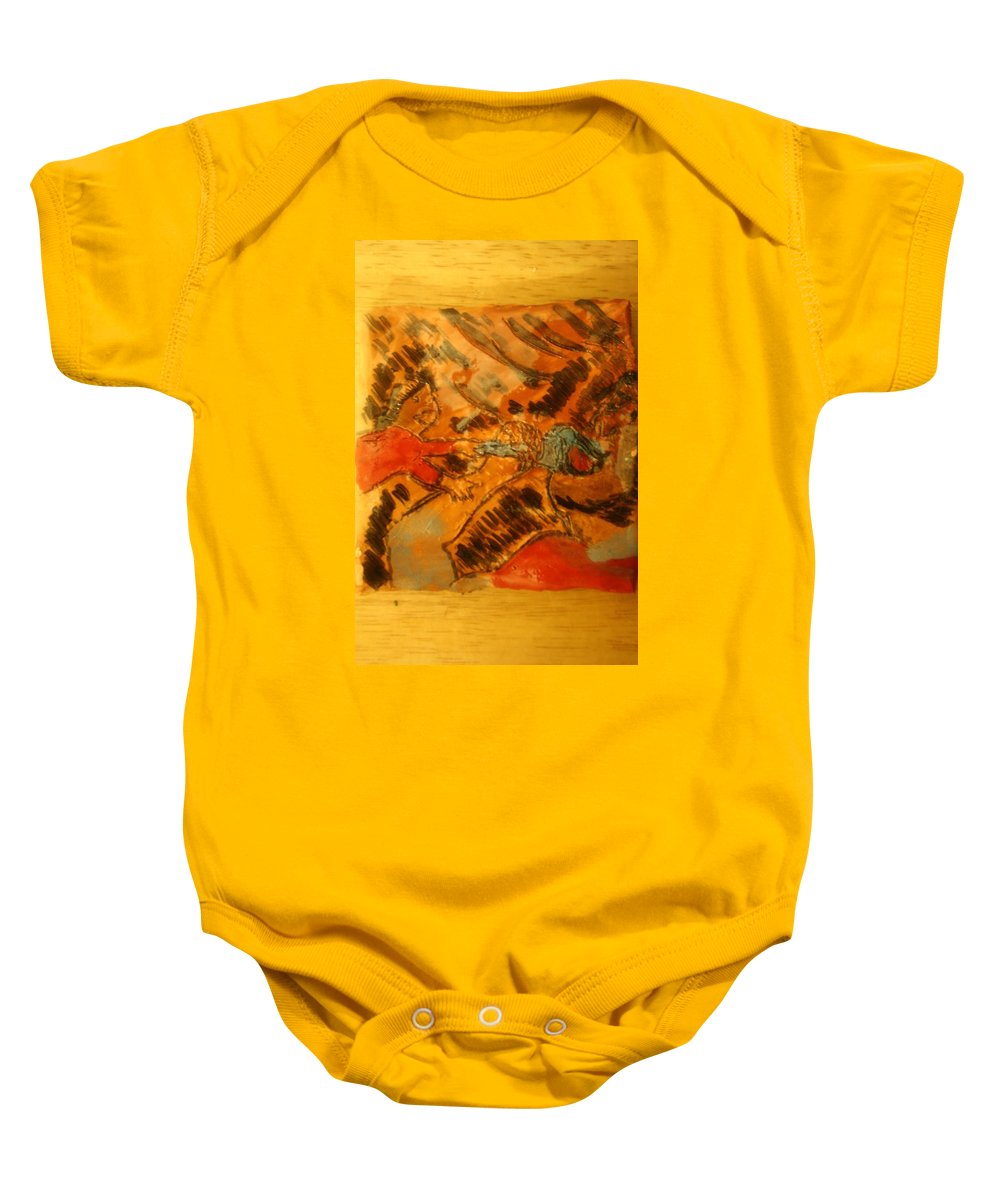 Jesus Baby Onesie featuring the ceramic art Have Some - Tile by Gloria Ssali