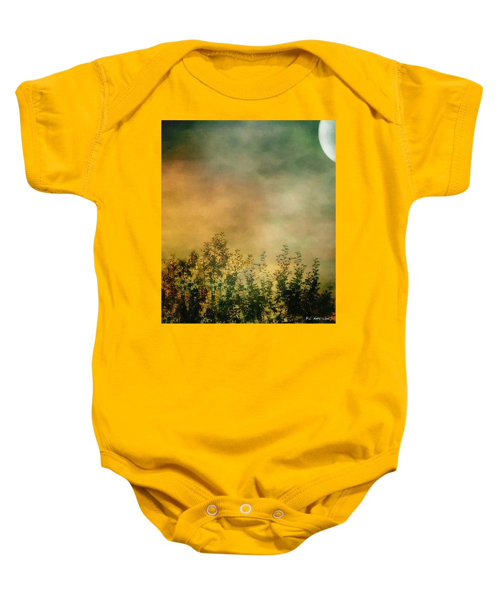 Dusk Baby Onesie featuring the painting Haze On Moonlit Meadow by RC deWinter