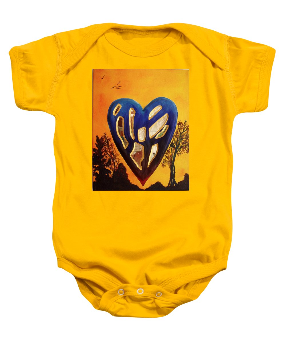 Baby Onesie featuring the painting Heart In Glory by Catt Kyriacou