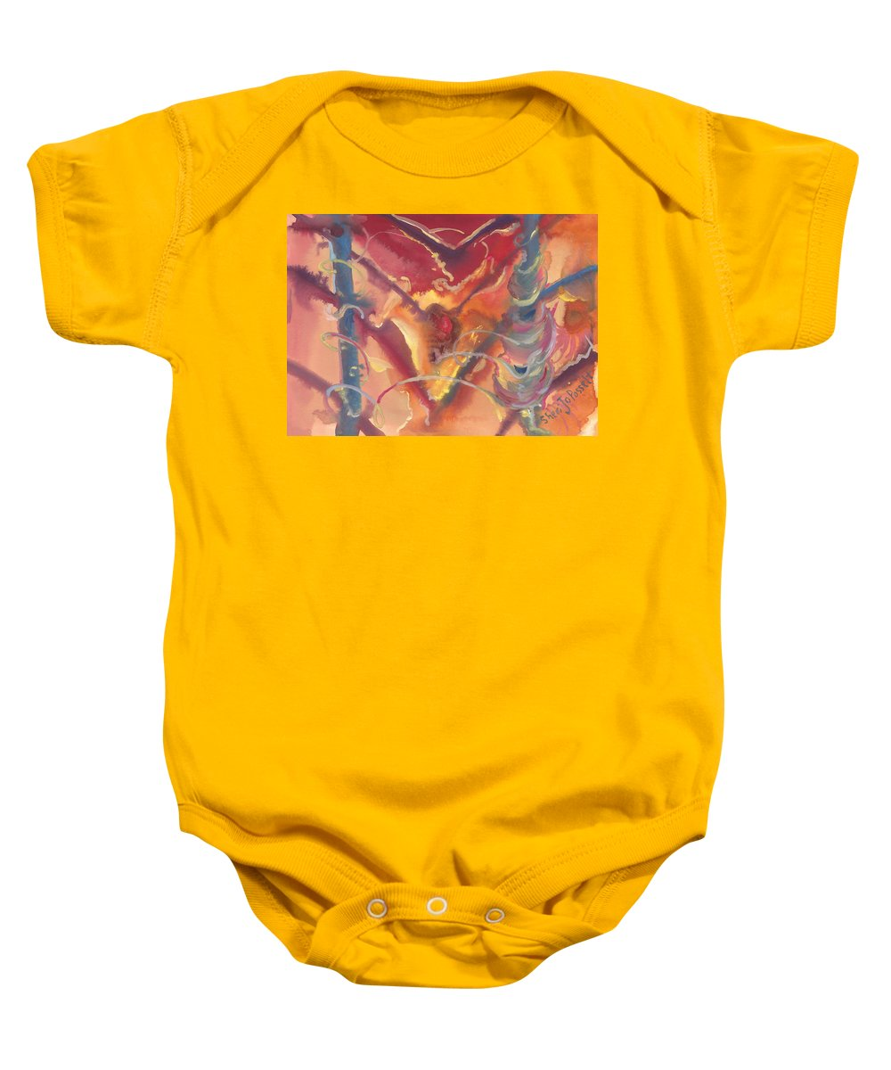 Heart Unveiled Baby Onesie featuring the painting Heart Unveiled by Sheri Jo Posselt