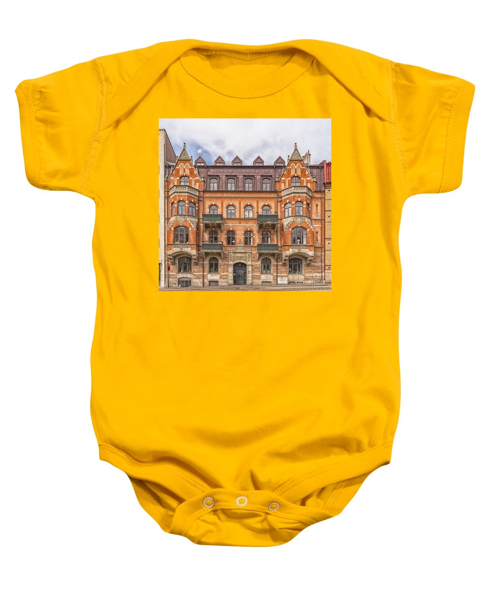 Travel Baby Onesie featuring the photograph Helsingborg Building Facade by Antony McAulay