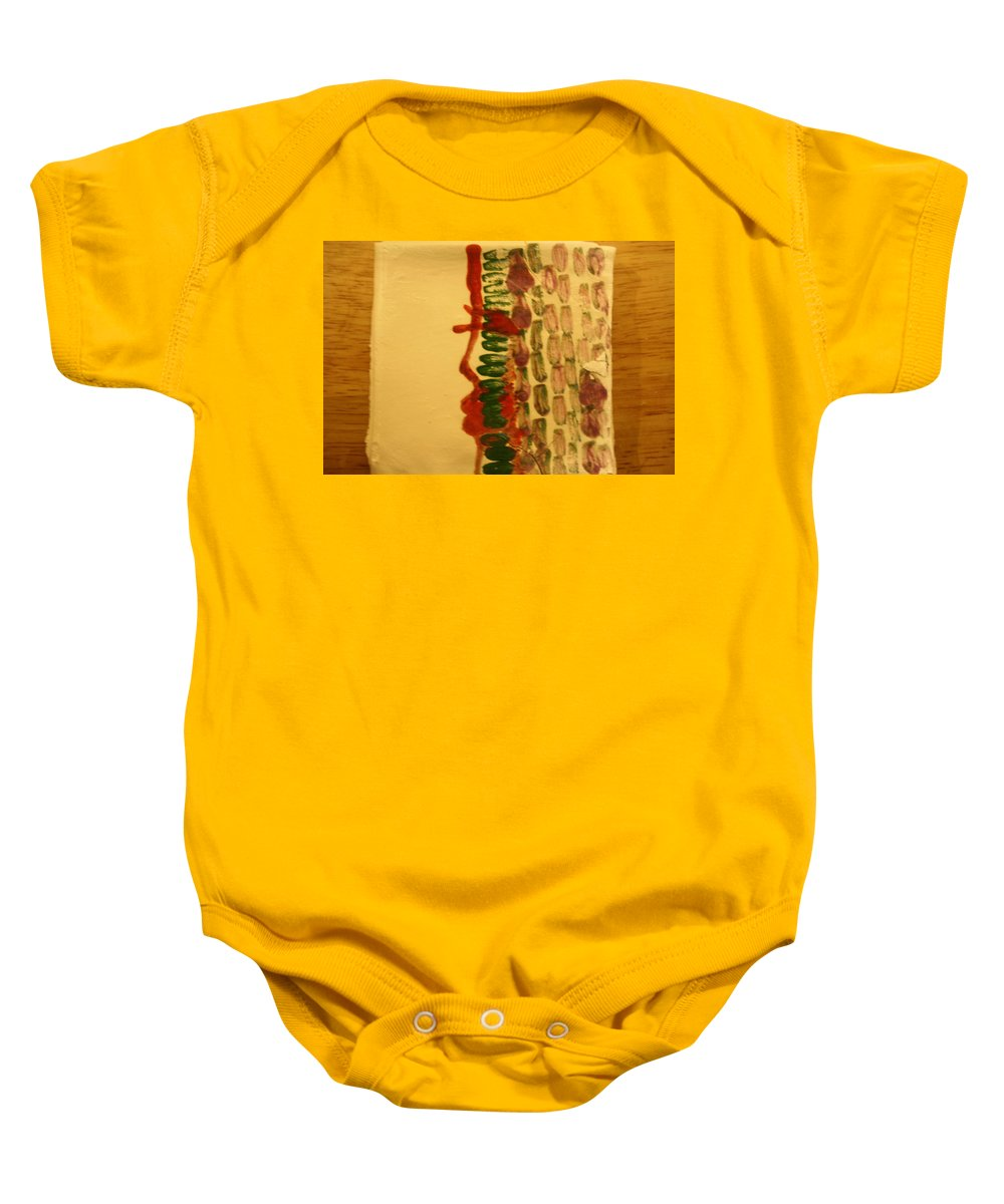 Jesus Baby Onesie featuring the ceramic art Henry - Tile by Gloria Ssali