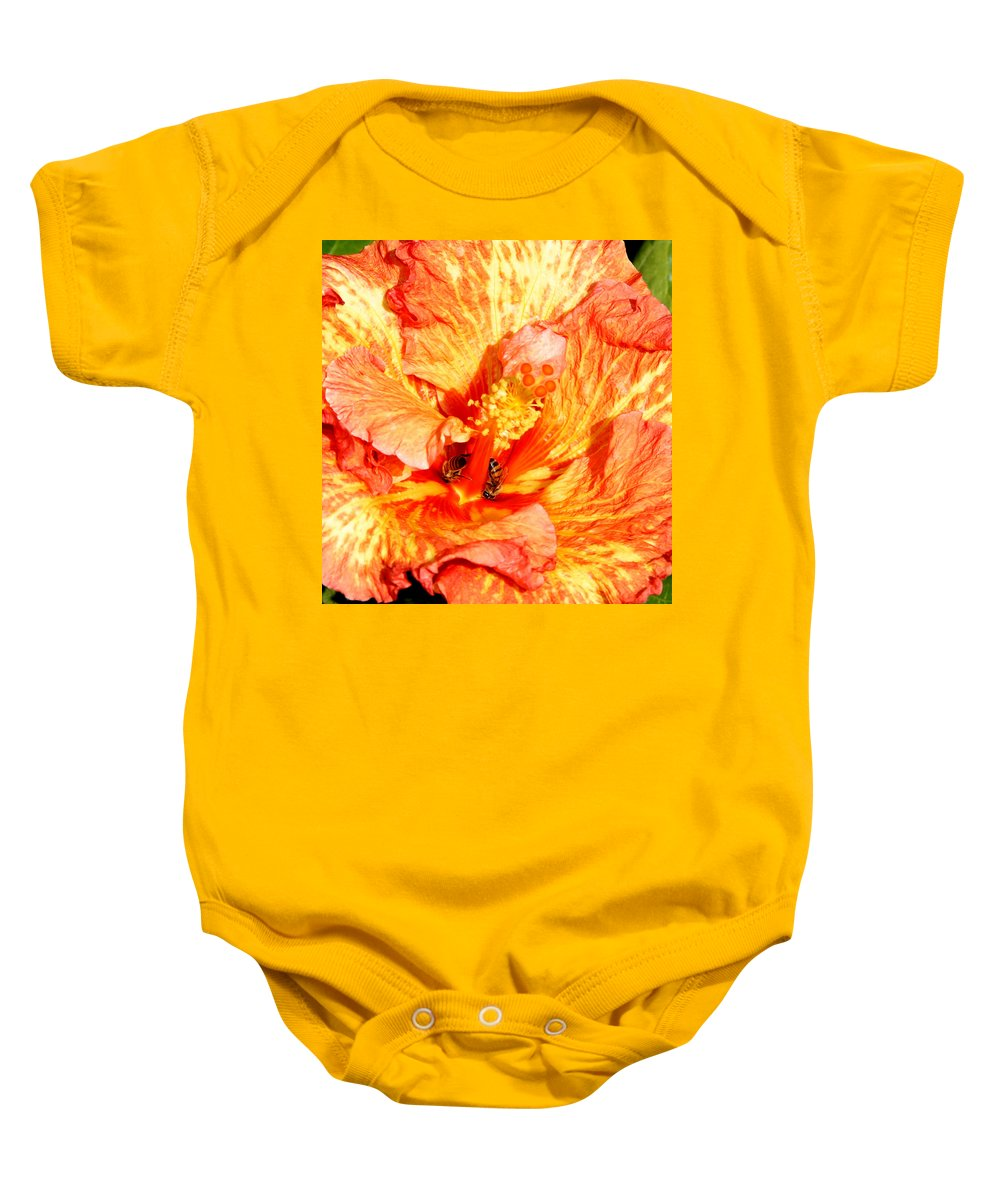 Bees Baby Onesie featuring the photograph Hibiscus And Bees by Anthony Jones