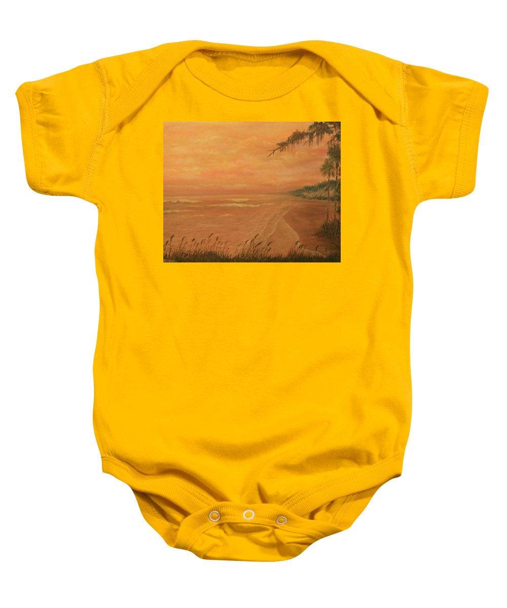 Beach; Ocean; Palm Trees; Water Baby Onesie featuring the painting High Tide by Ben Kiger
