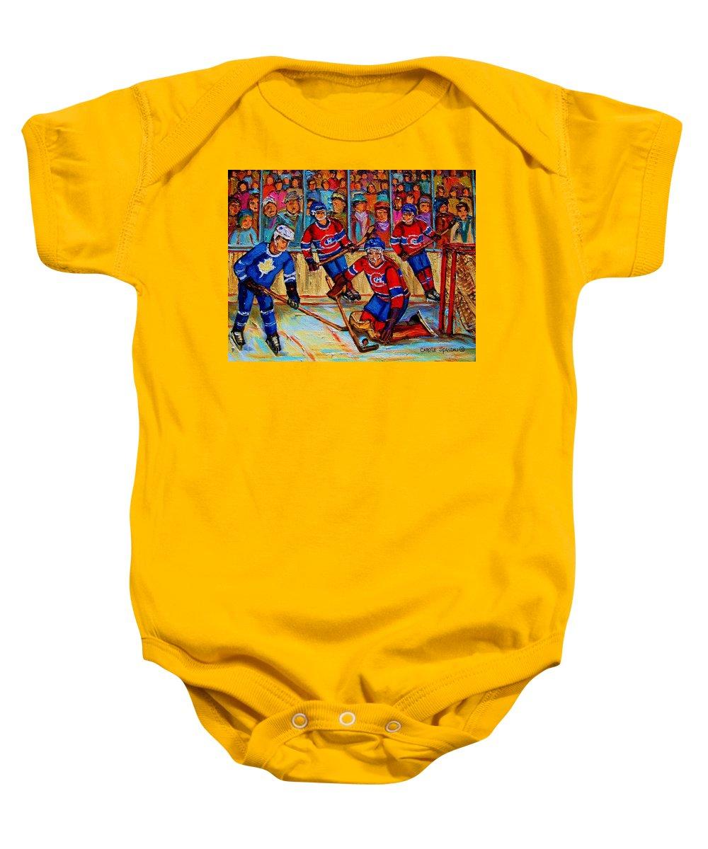 Hockey Baby Onesie featuring the painting Hockey Hero by Carole Spandau