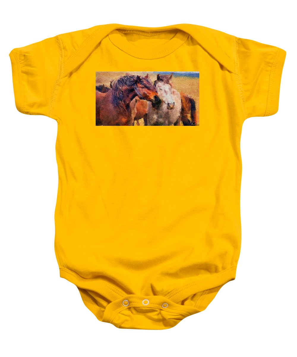 Horses Baby Onesie featuring the digital art Horse Snuggle by David Derr