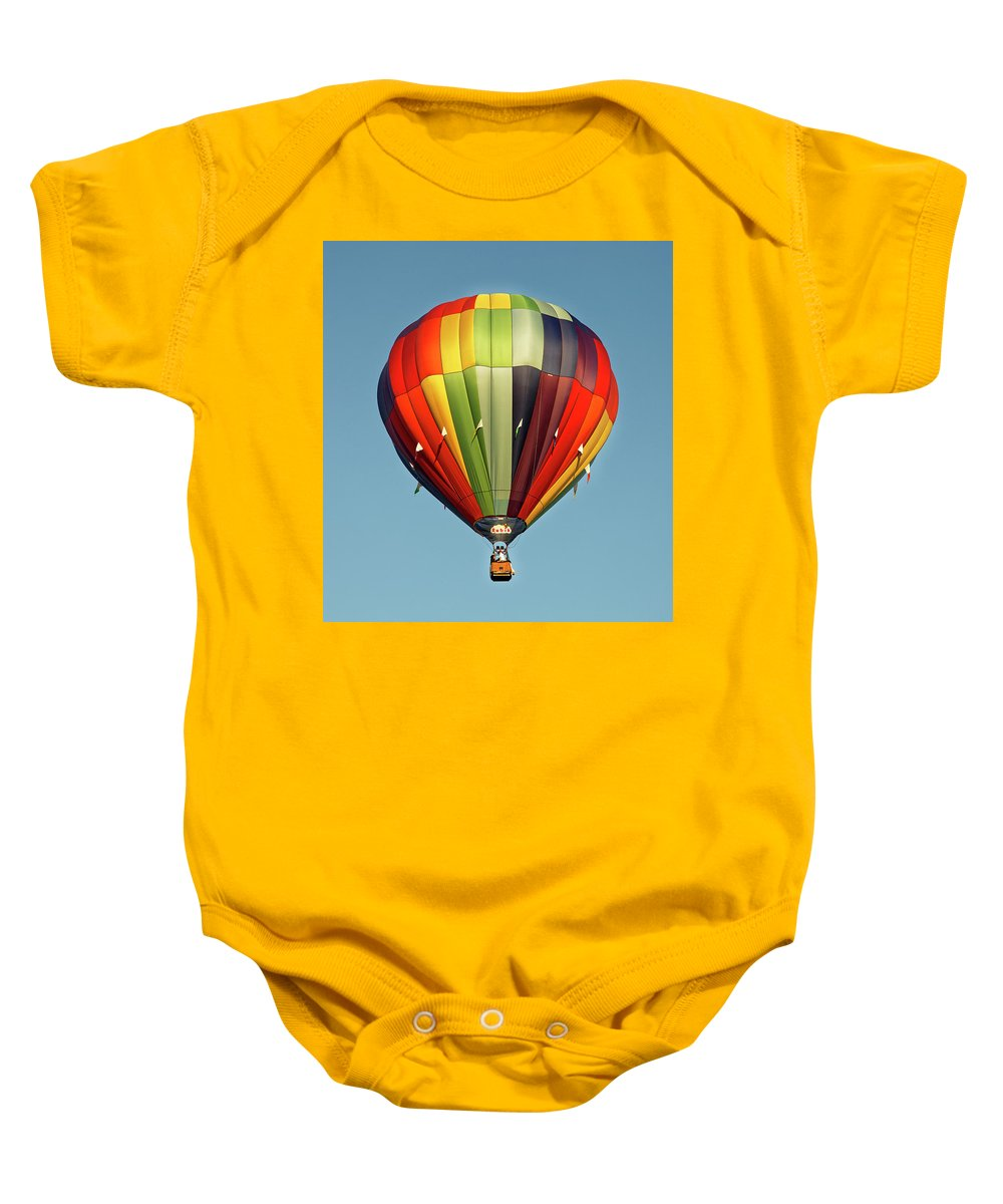 Balloons Baby Onesie featuring the photograph Hot Air Balloon by Robert Urwyler