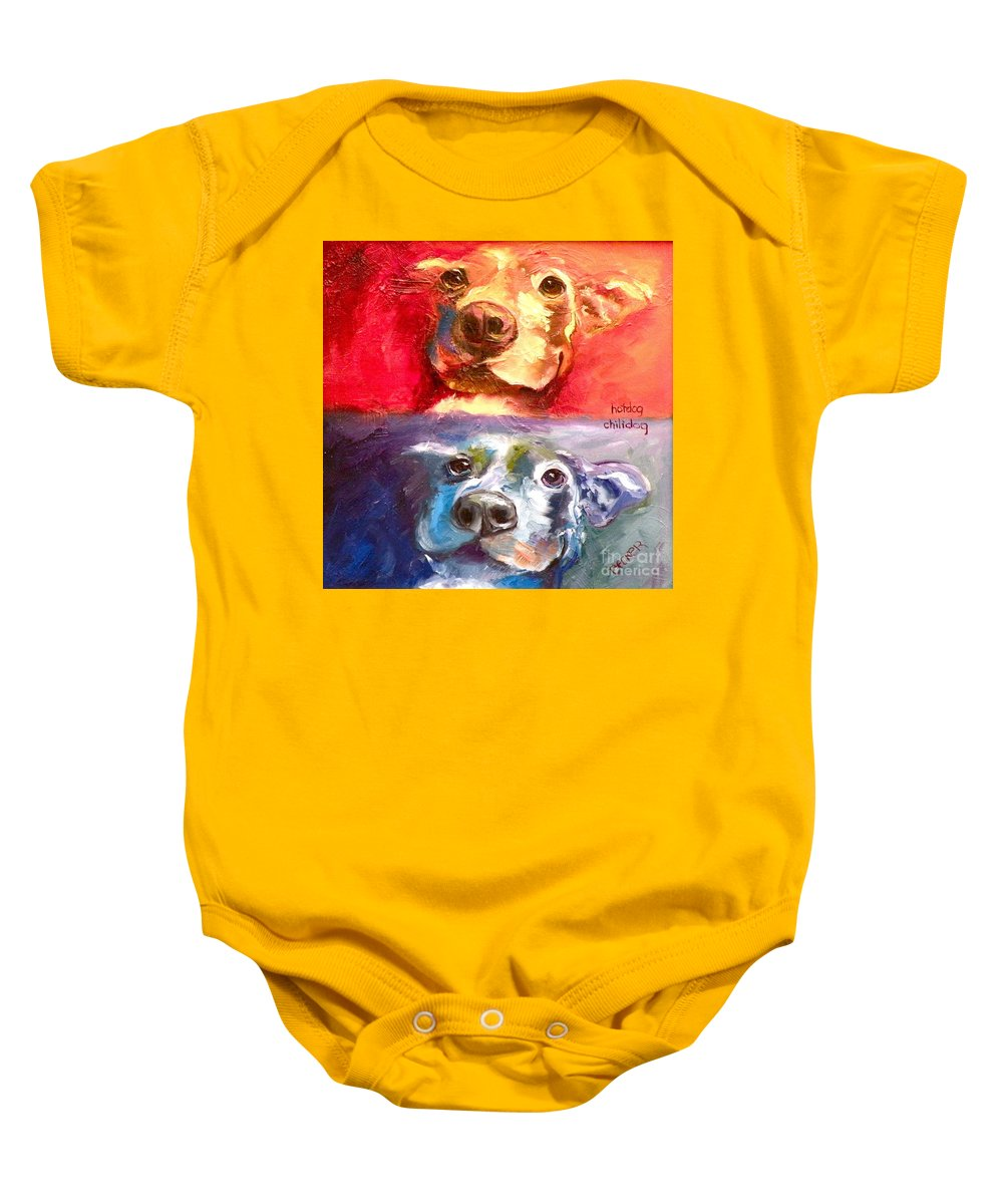 Dogs Baby Onesie featuring the painting Hot Dog Chilly Dog Study by Susan A Becker