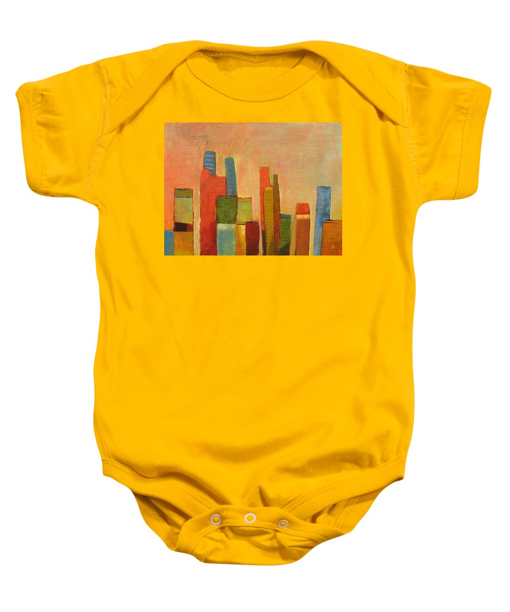 Abstract Cityscape Baby Onesie featuring the painting Hot Manhattan by Habib Ayat