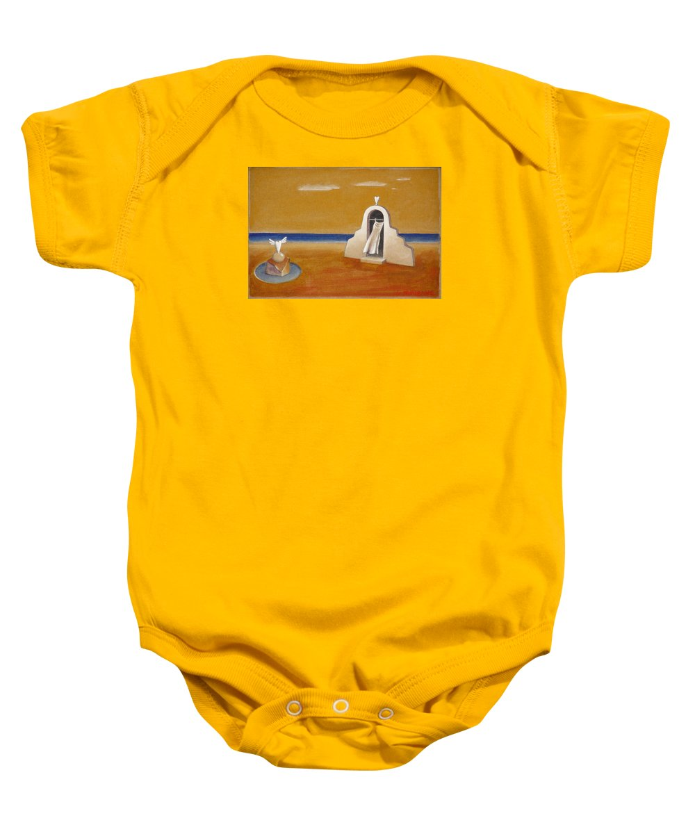 Chirico Baby Onesie featuring the painting House Of Eros by Dimitris Milionis