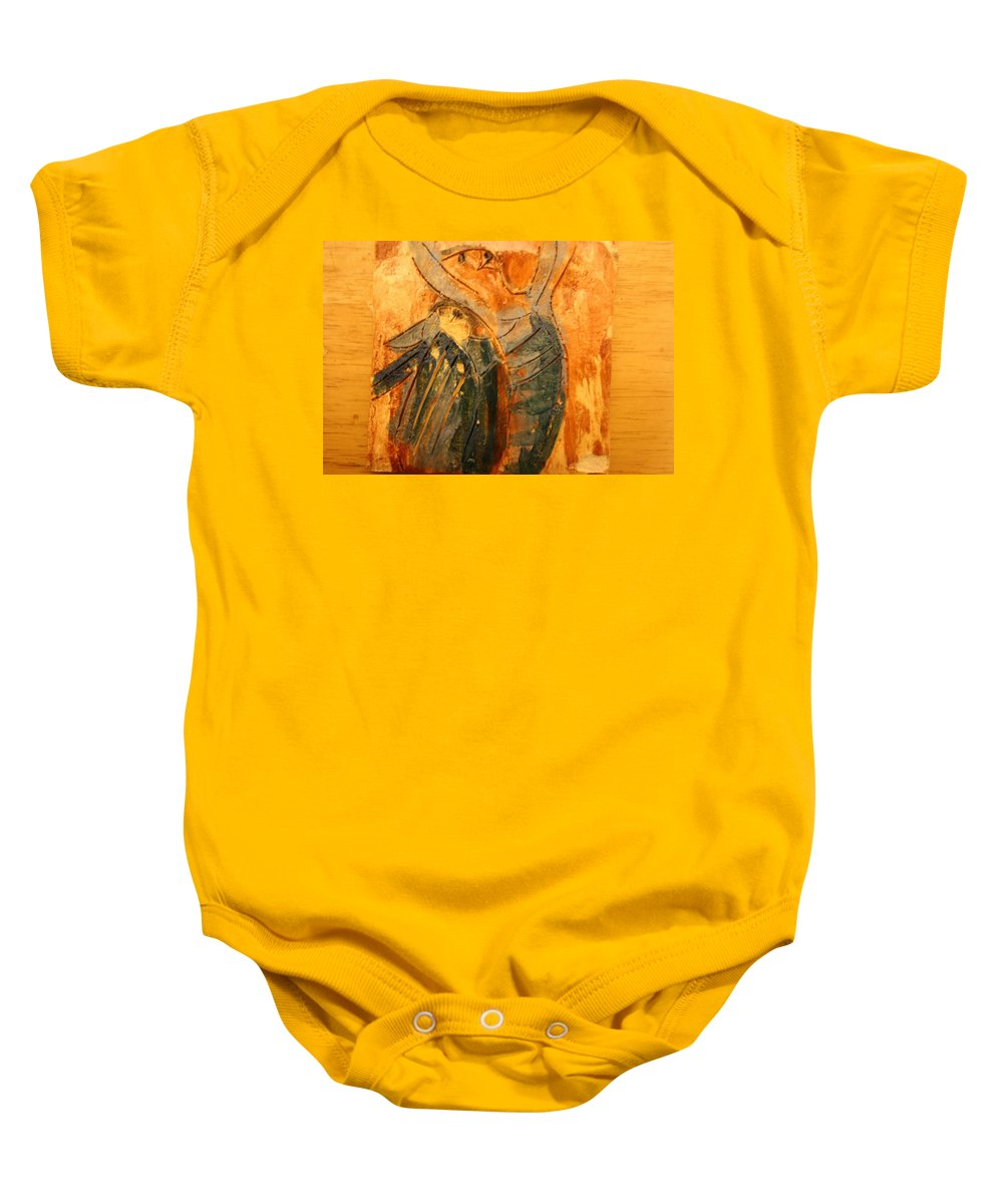 Jesus Baby Onesie featuring the ceramic art Hurrah - Tile by Gloria Ssali