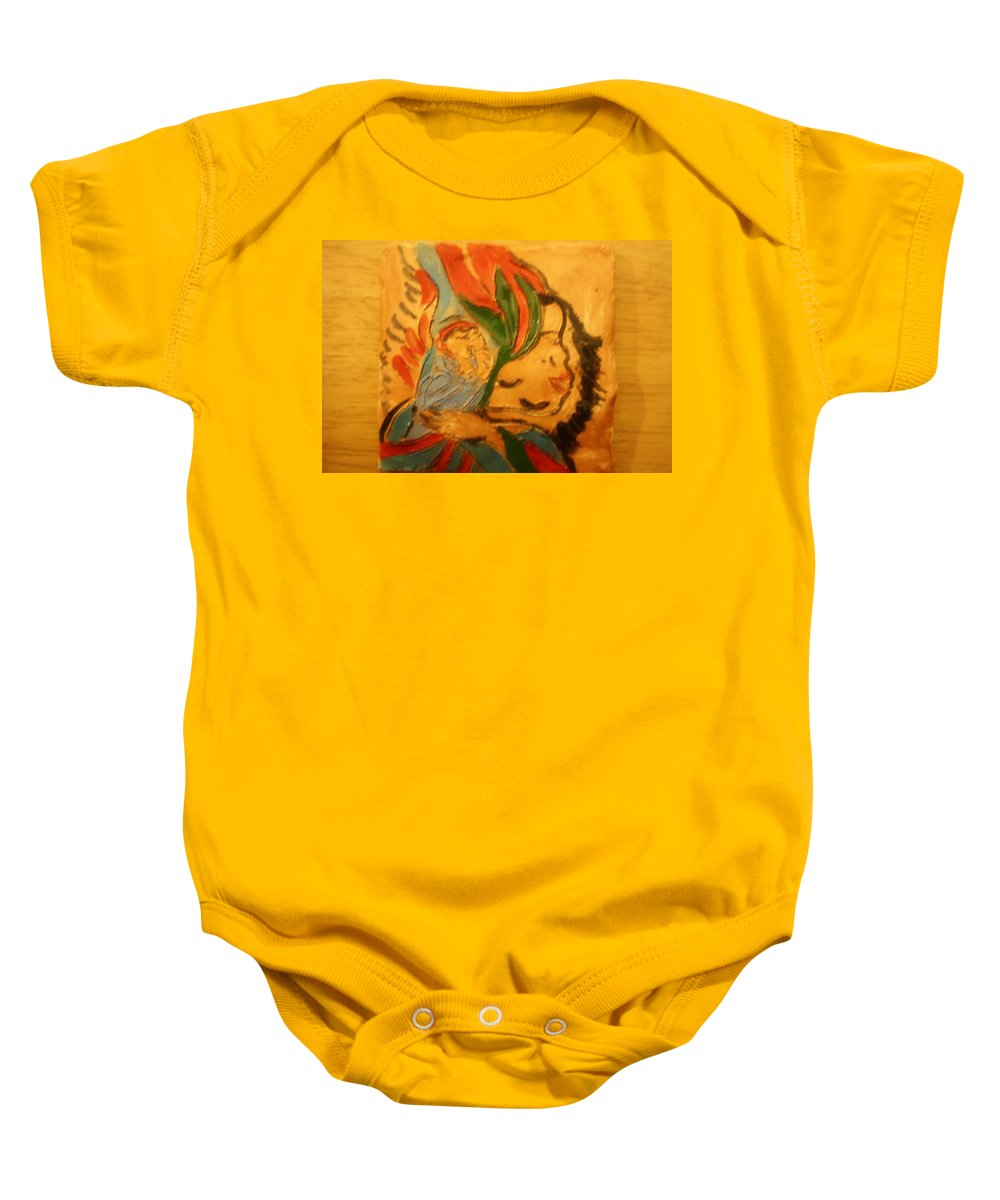 Jesus Baby Onesie featuring the ceramic art I Love You - Tile by Gloria Ssali