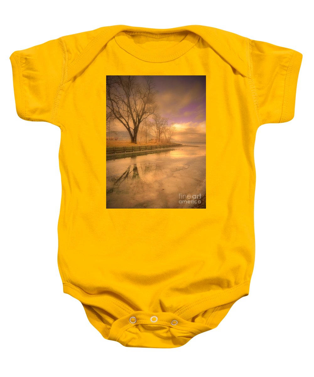 Tree Baby Onesie featuring the photograph Ice And Light by Tara Turner