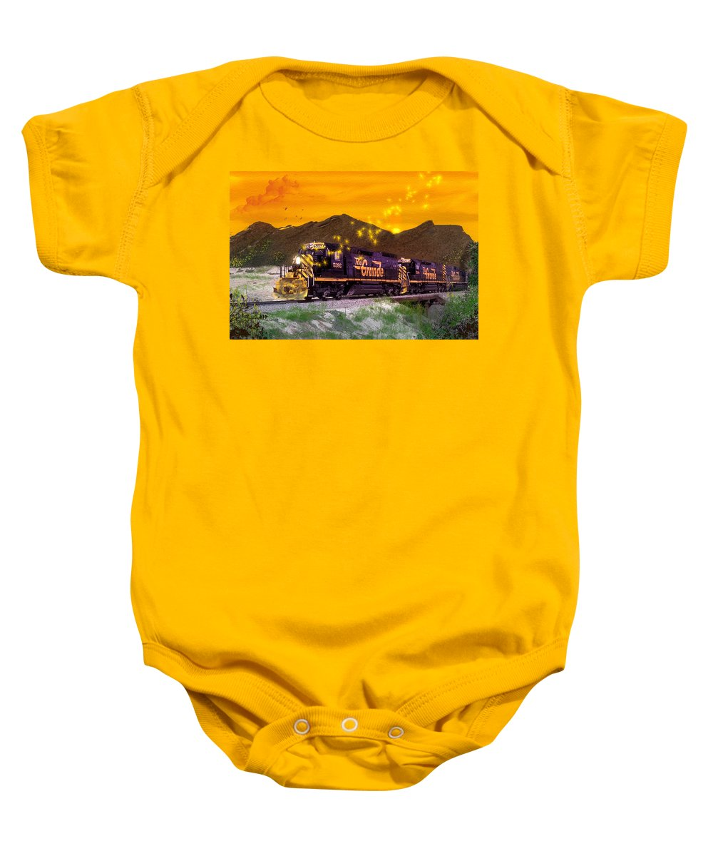Trains Baby Onesie featuring the digital art If I Had A Magic Wand by J Griff Griffin