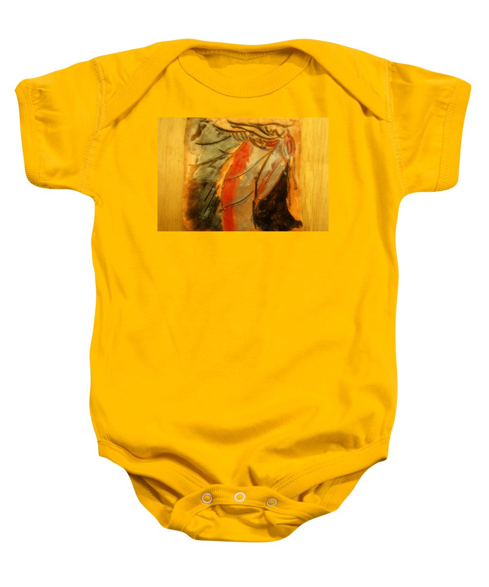 Jesus Baby Onesie featuring the ceramic art I'll Make You - Tile by Gloria Ssali
