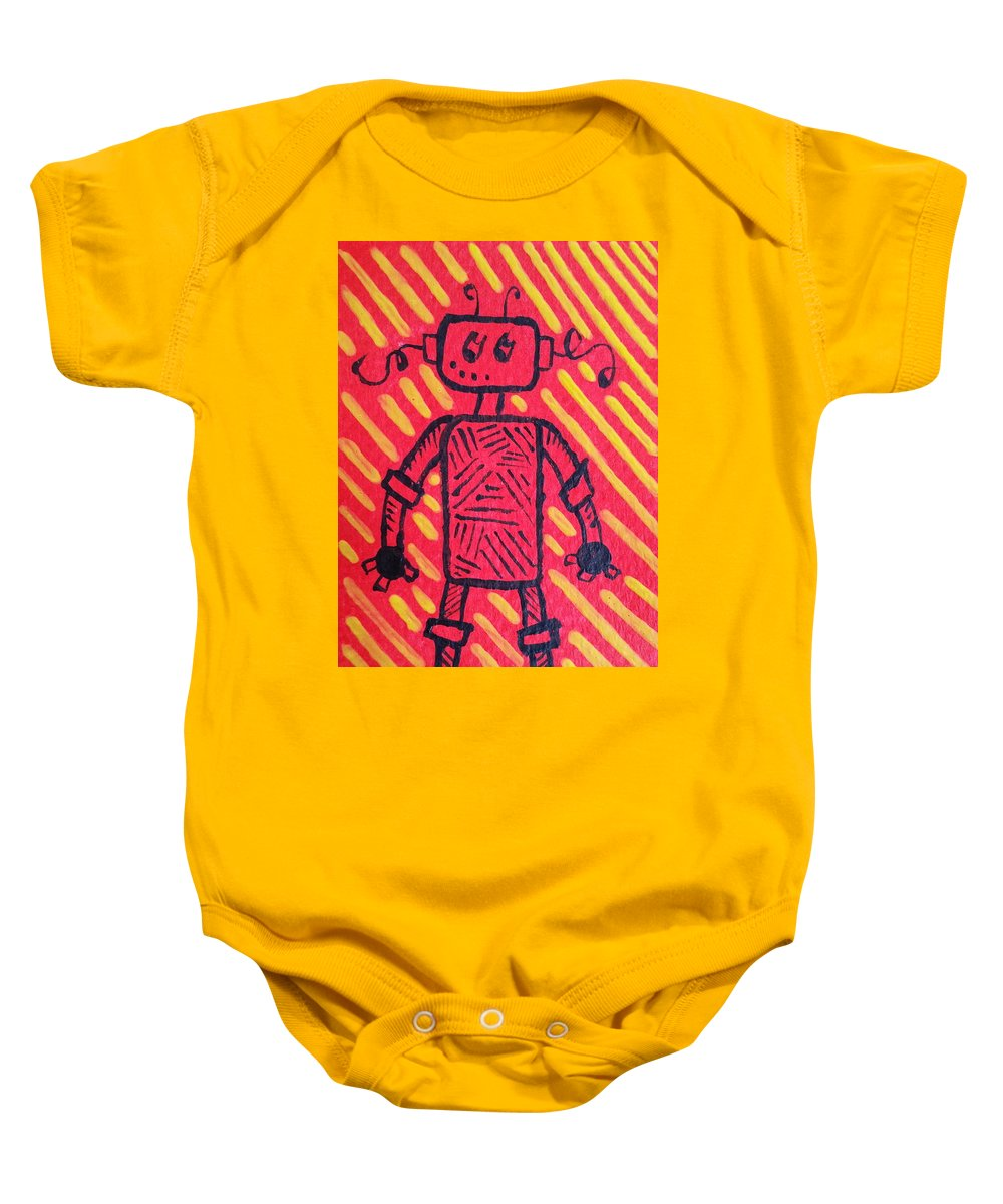 Robot Baby Onesie featuring the painting Imagination Denied by Kelly Brimberry