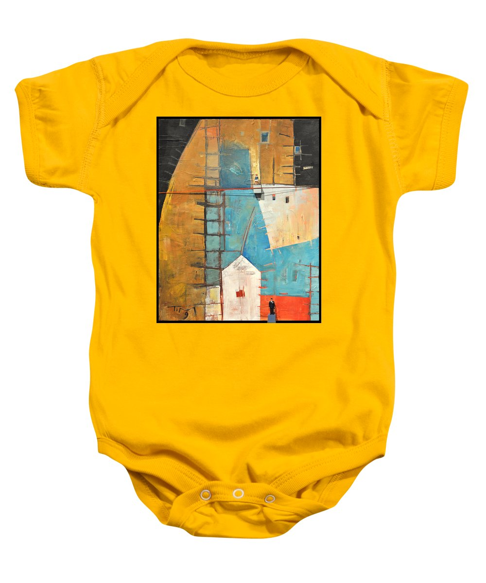 Abstract Baby Onesie featuring the painting Incident At Harpers Corner by Tim Nyberg