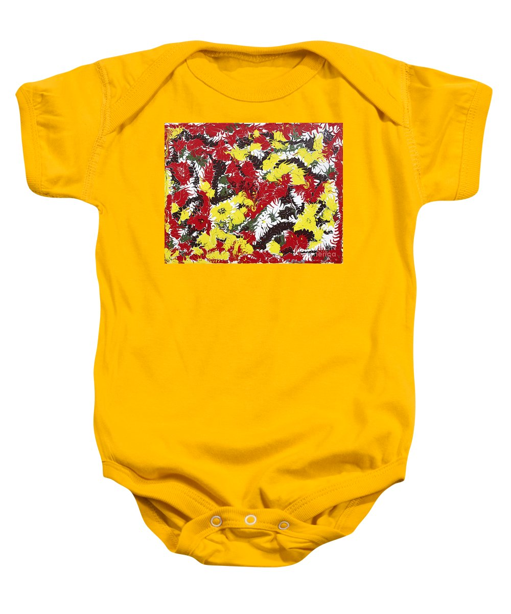 Keith Elliott Baby Onesie featuring the painting Intimidation Of Energy - V1cbs40 by Keith Elliott