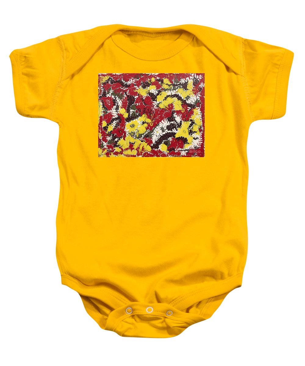Keith Elliott Baby Onesie featuring the painting Intimidation Of Energy - V1ly100 by Keith Elliott