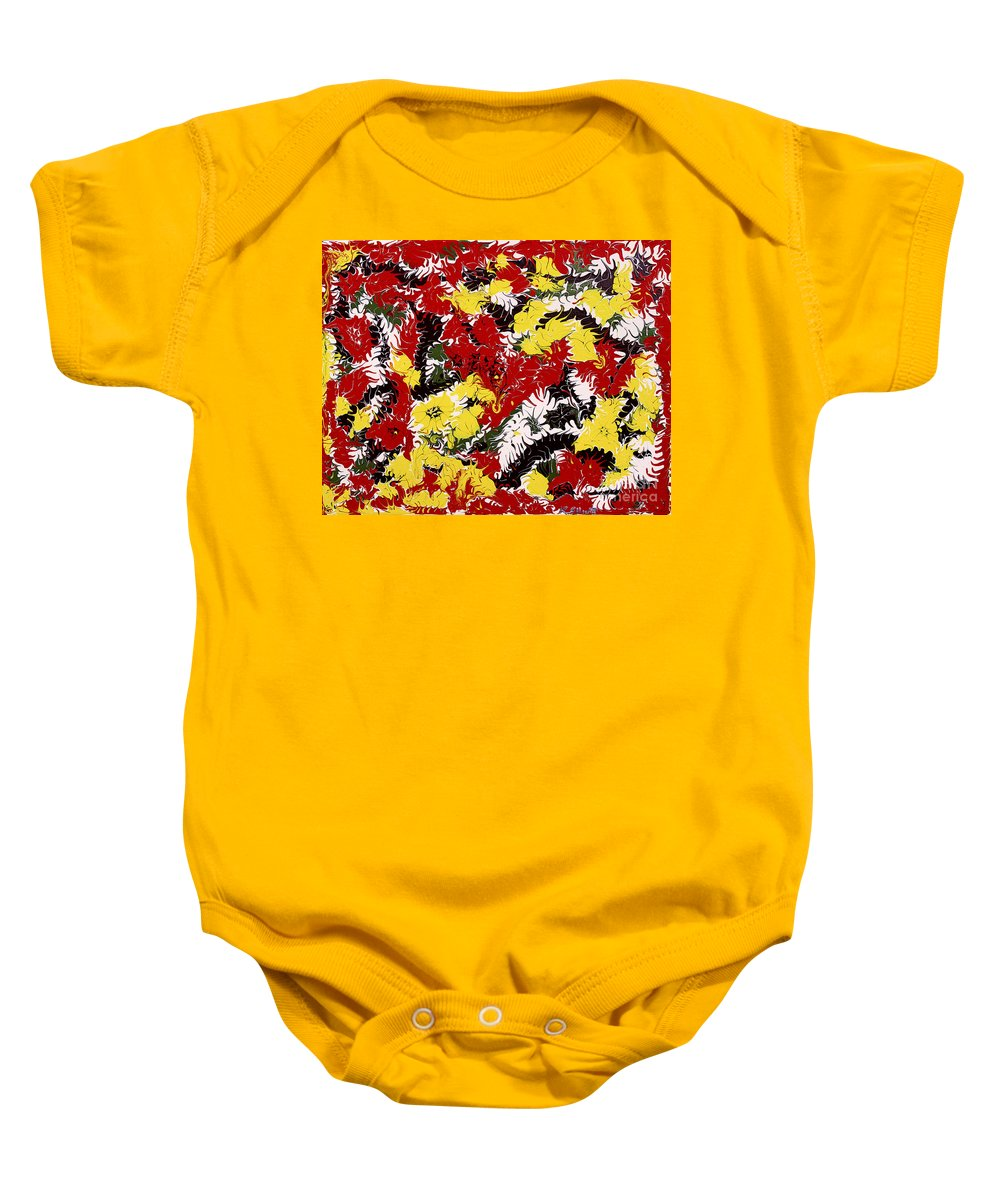 Keith Elliott Baby Onesie featuring the painting Intimidation Of Energy - V1vhkf100 by Keith Elliott