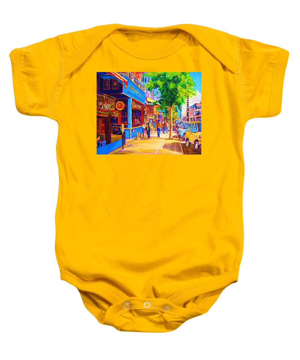 Irish Pub On Crescent Street Montreal Street Scenes Baby Onesie featuring the painting Irish Pub On Crescent Street by Carole Spandau