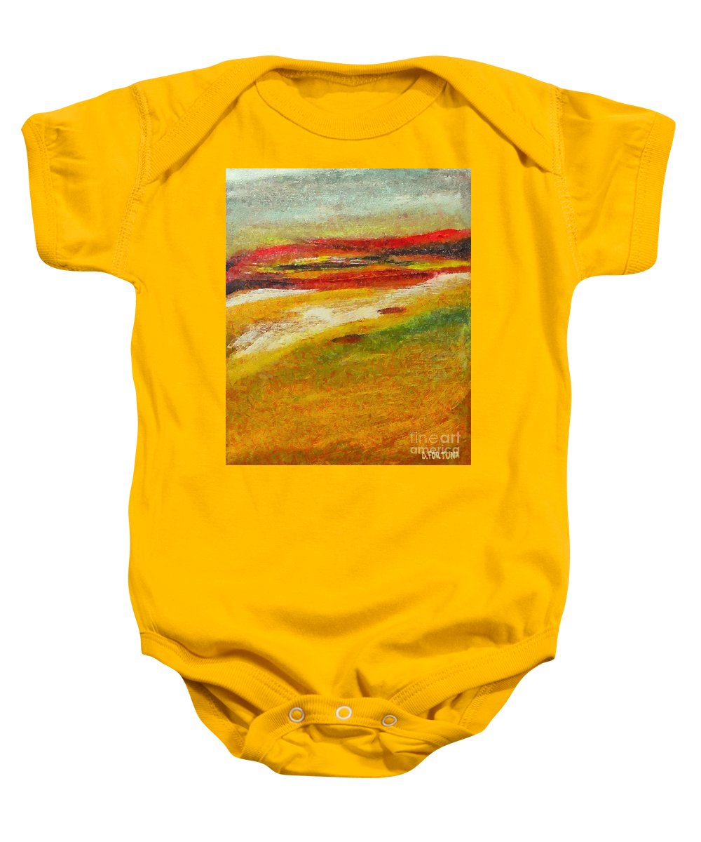 Landscape Baby Onesie featuring the mixed media Istrian Landscape by Dragica Micki Fortuna