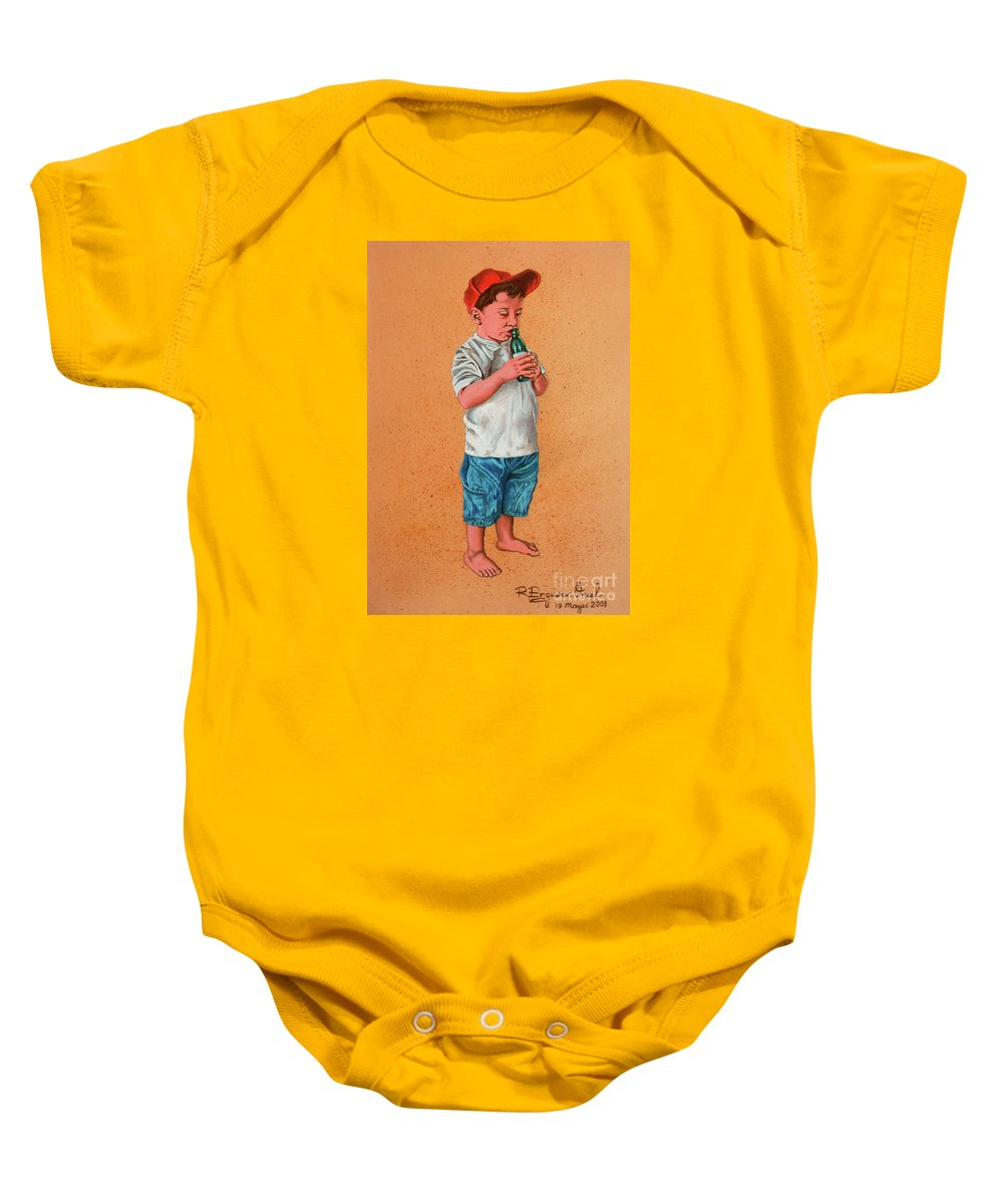 Summer Baby Onesie featuring the painting It's A Hot Day - Es Un Dia Caliente by Rezzan Erguvan-Onal