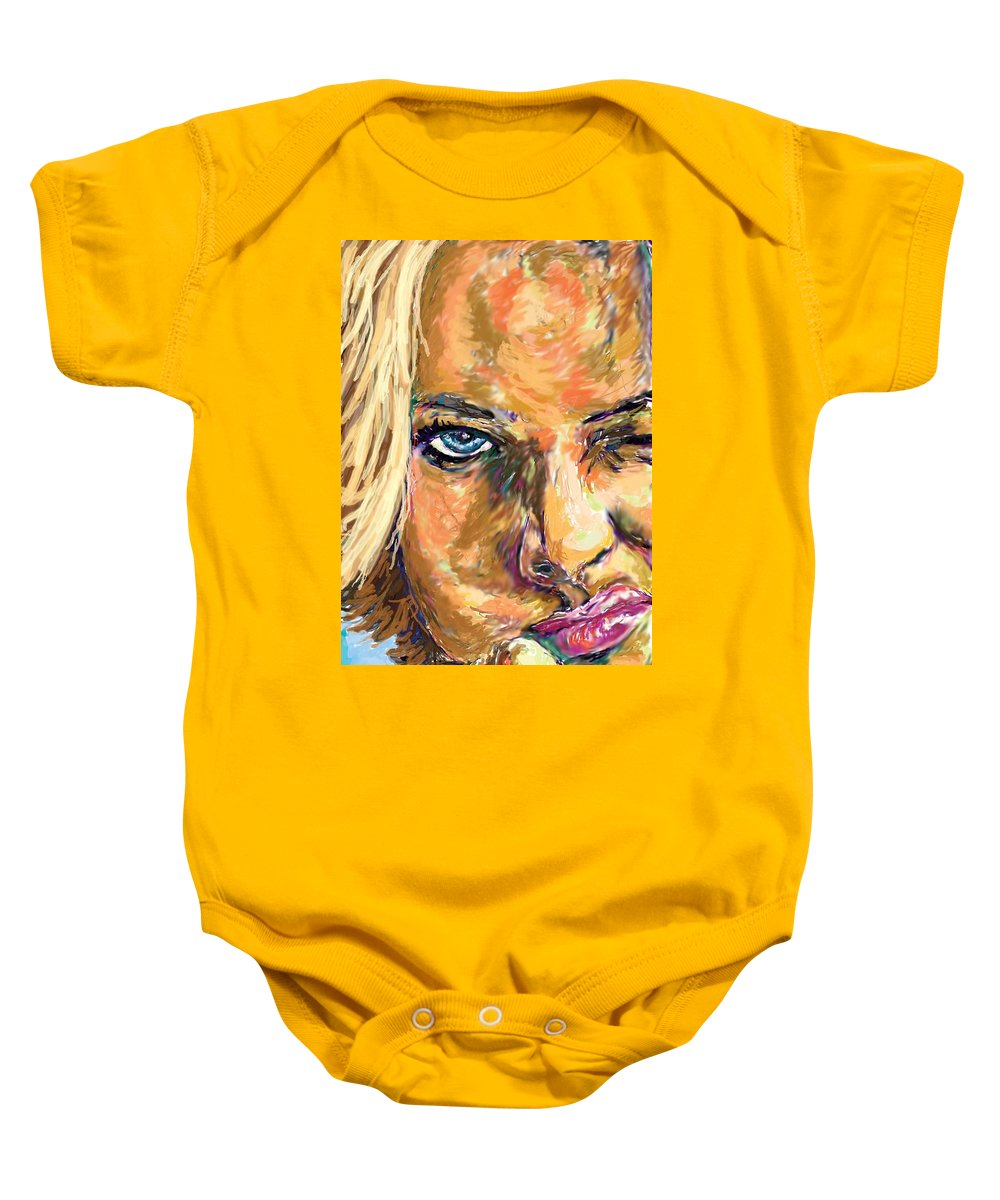 Jaime Pressly Baby Onesie featuring the painting Jaime Pressly by Travis Day