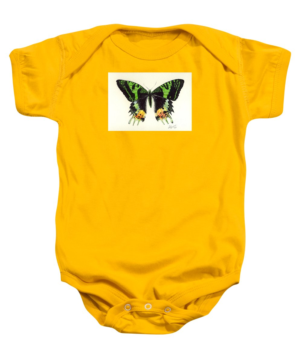 Butterfly Baby Onesie featuring the painting Jamaican Jewel by Lynn Quinn