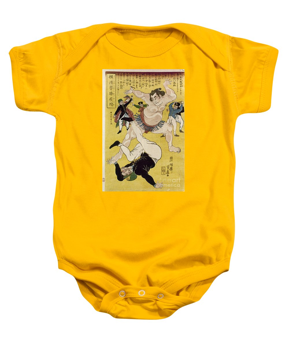 1861 Baby Onesie featuring the photograph Japan: Sumo Wrestling by Granger
