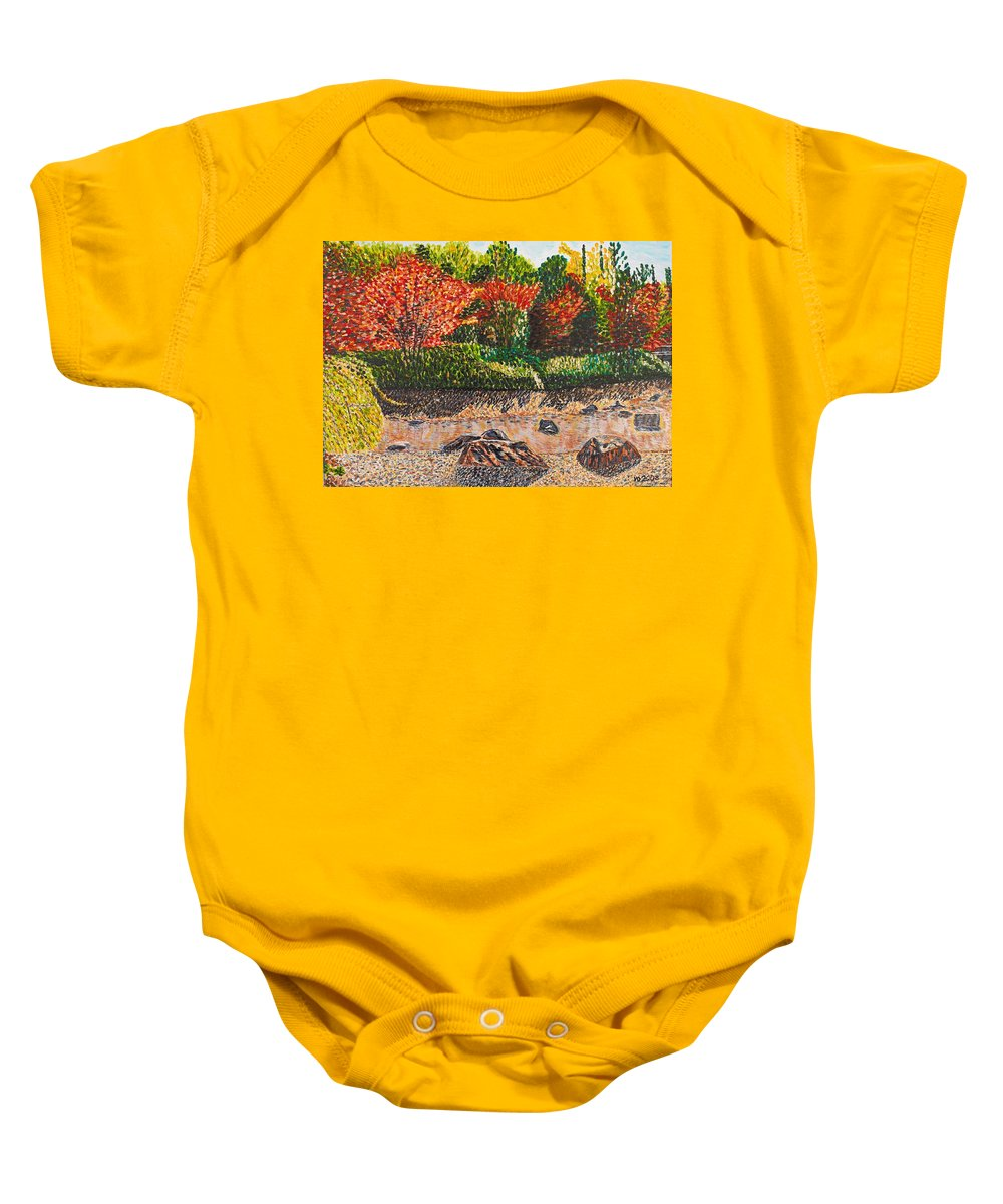 Landscape Baby Onesie featuring the painting Japanese Maple Trees At The Creek by Valerie Ornstein