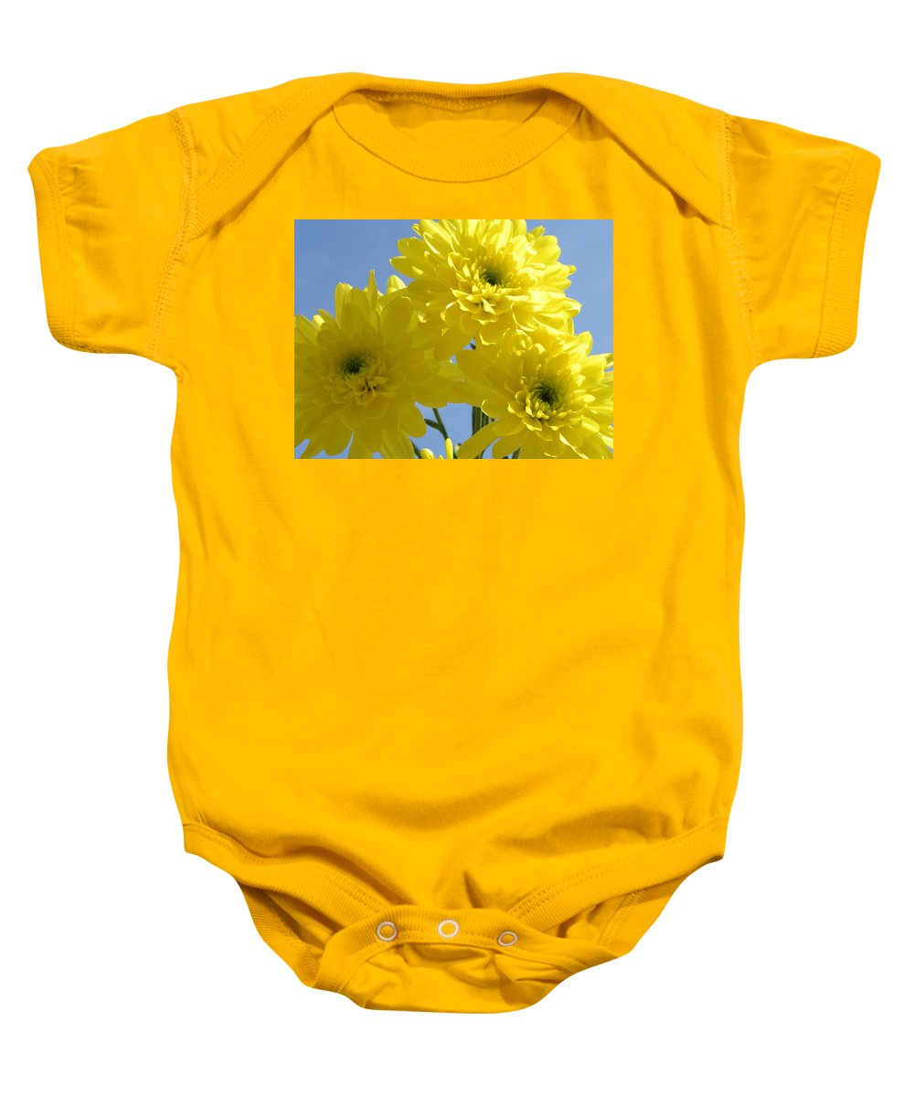 Nature Baby Onesie featuring the photograph Yellow Trio by Shannon Turek