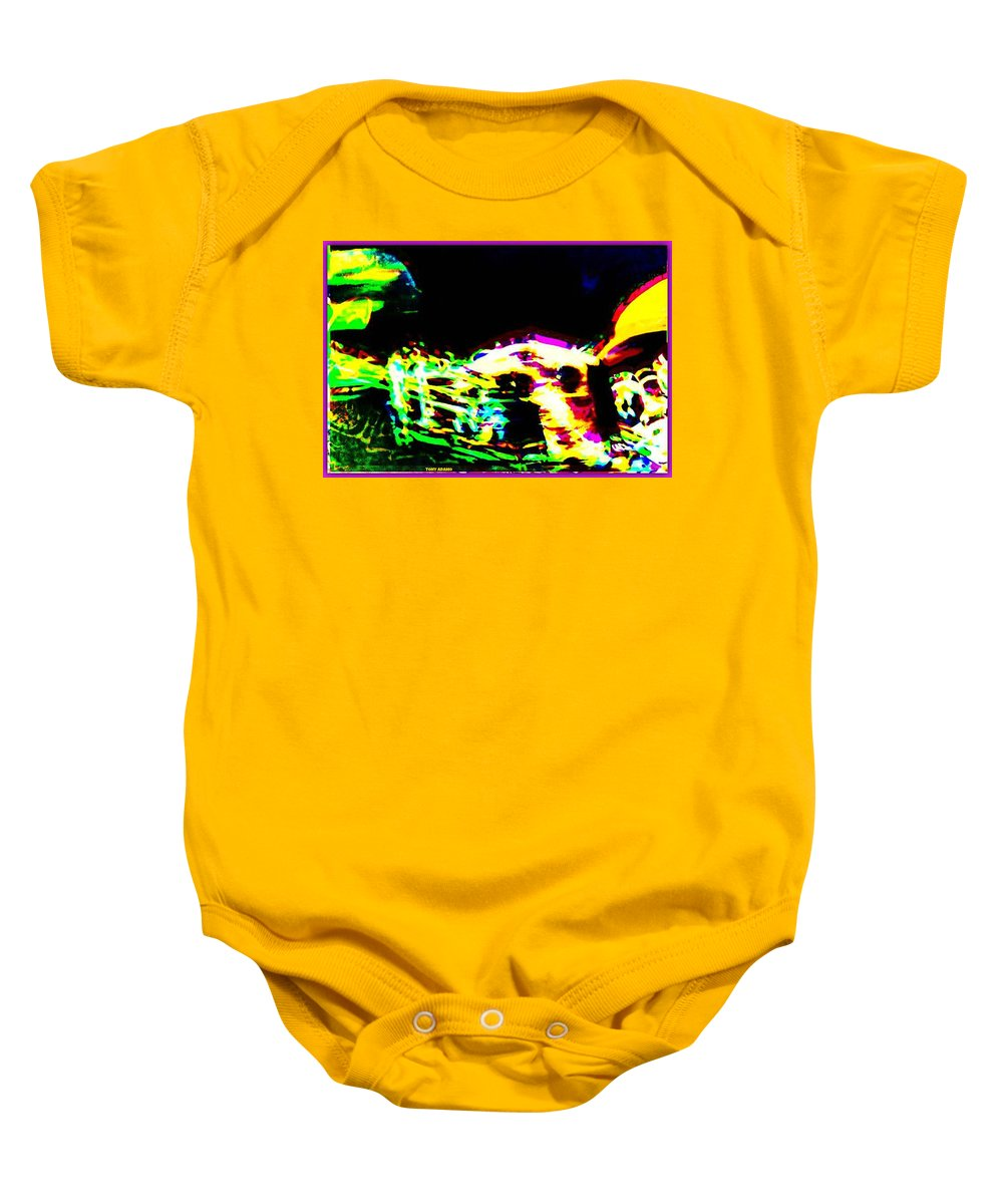 Jazz Horn And The Abstract Truth Baby Onesie featuring the digital art Jazz Horn And The Abstract Truth by Tony Adamo