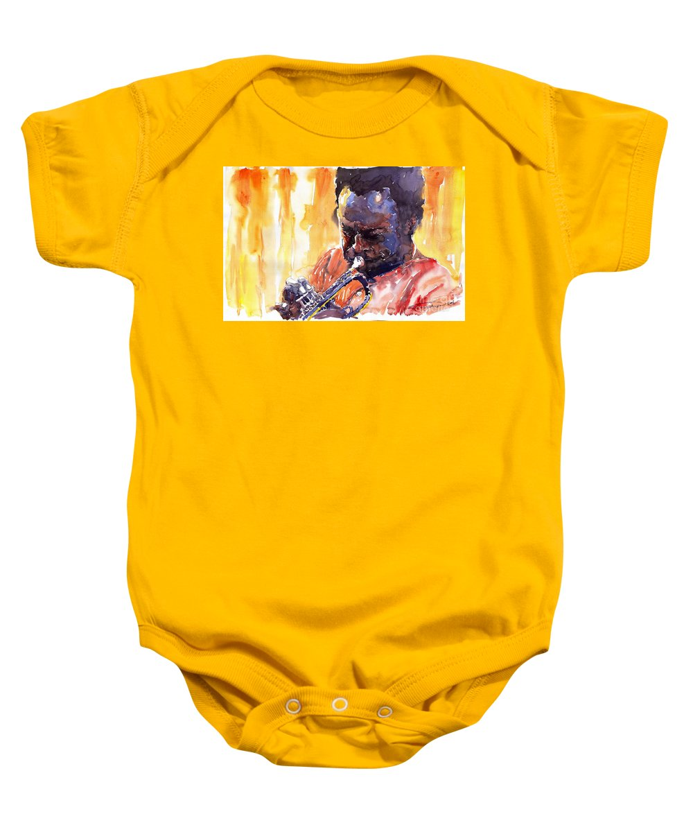Jazz Miles Davis Music Watercolor Watercolour Figurativ Portret Trumpeter Baby Onesie featuring the painting Jazz Miles Davis 8 by Yuriy Shevchuk