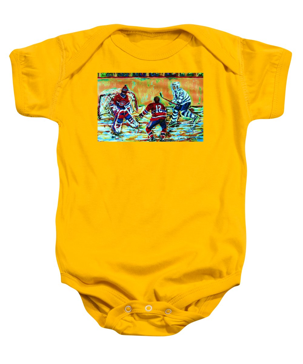 Hockey Canvas Prints Baby Onesie featuring the painting Jose Theodore The Goalkeeper by Carole Spandau