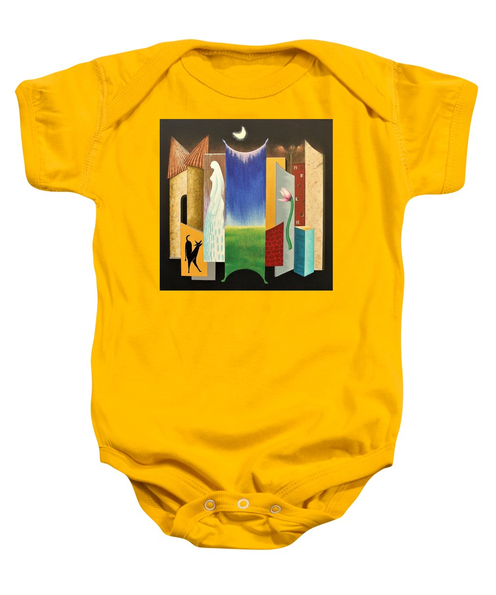 Romantic Baby Onesie featuring the painting Journy -13 by Raju Bose