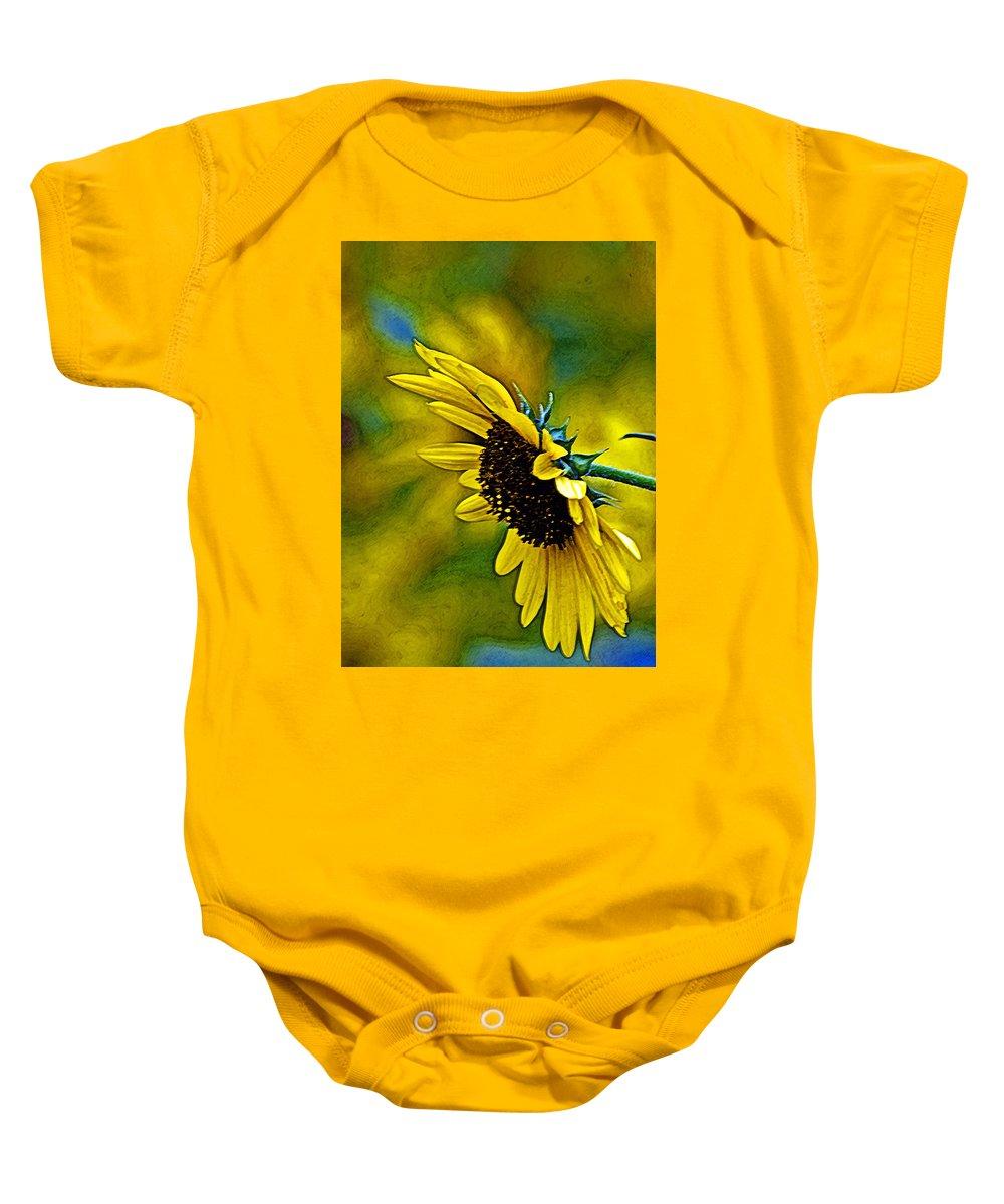 Flower Baby Onesie featuring the digital art Kansas Sunflower by Mike Scheufler