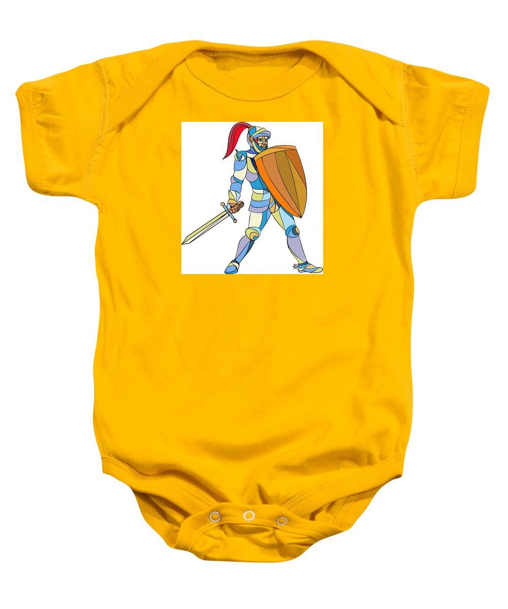 Mosaic Baby Onesie featuring the digital art Knight Full Armor With Sword Defending Mosaic by Aloysius Patrimonio