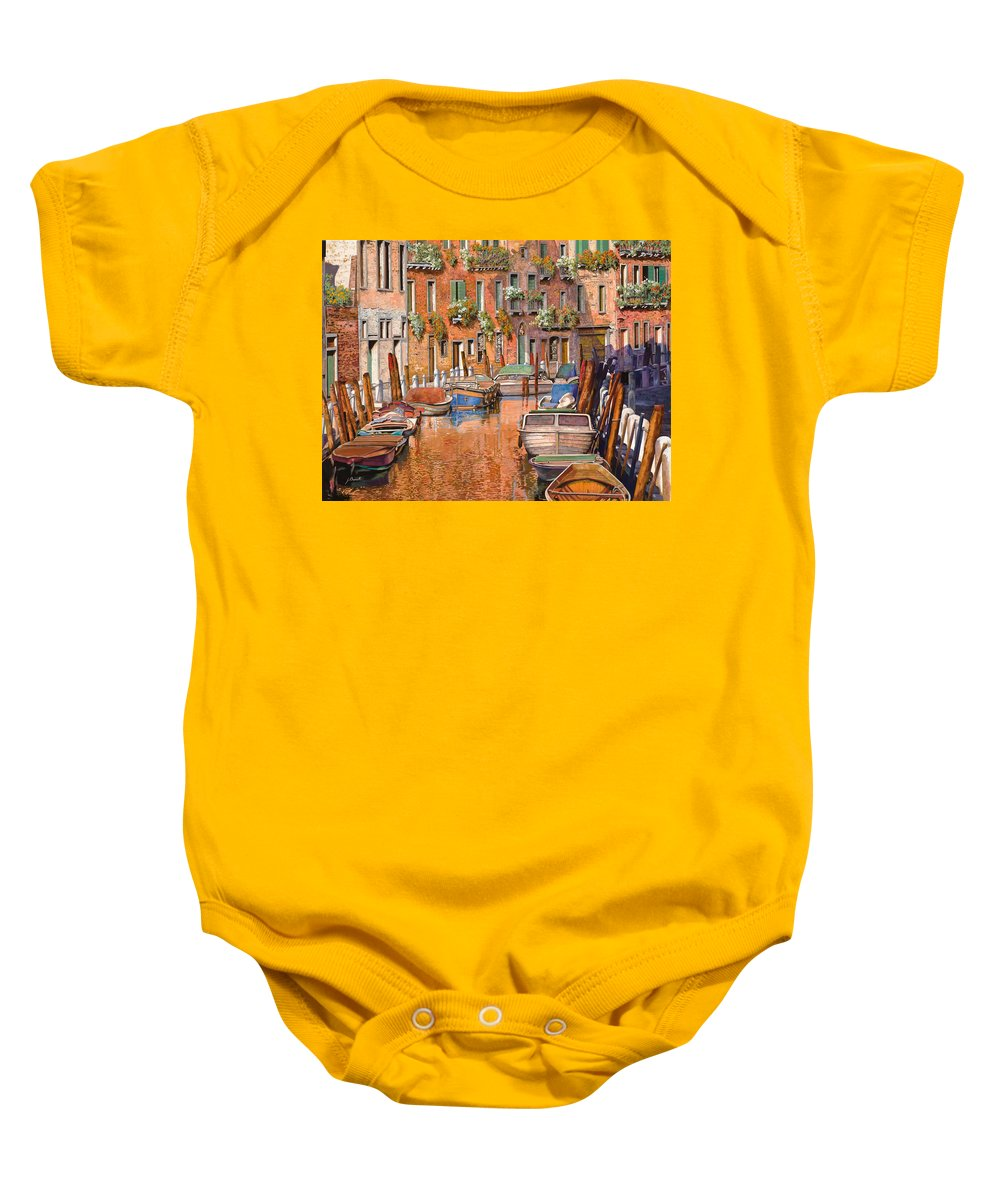 Venice Baby Onesie featuring the painting La Curva Sul Canale by Guido Borelli