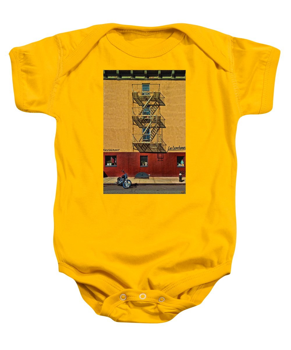 Chelsea Baby Onesie featuring the photograph La Lunchonette by Chris Lord