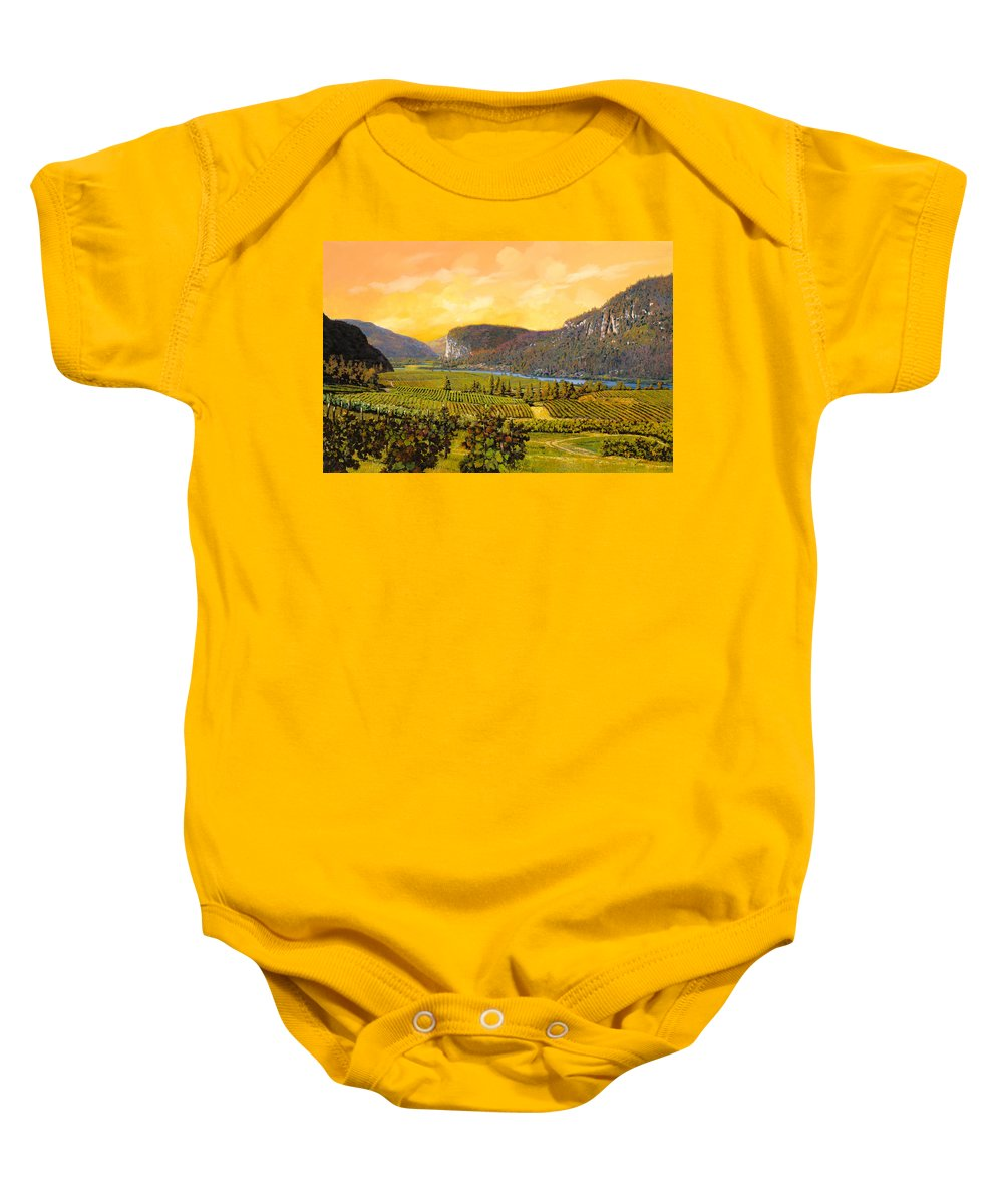 Wine Baby Onesie featuring the painting La Vigna Sul Fiume by Guido Borelli